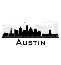 Austin city skyline black and white silhouette vector