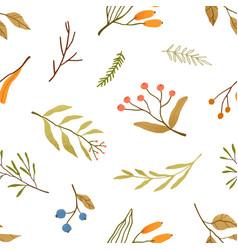 Autumn season plants flat seamless pattern vector