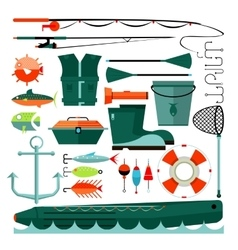 Big set of fishing elements vector
