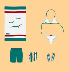 bikini with sea pattern on background of sand vector image