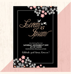 Black wedding invitation card with flora vector