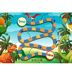 Boardgame template with many dinosaurs vector image vector image
