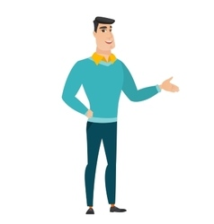 Business man with arm out in a welcoming gesture vector
