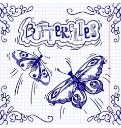 Butterflies doodle ornament vector