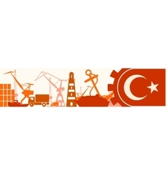 Cargo port Turkey flag in gear vector