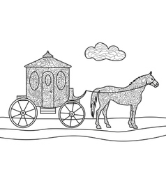Carriage with horse coloring book vector