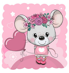 Cartoon mouse with flowers and balloon on a pink vector