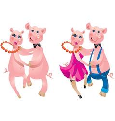 Cartoon of a happy couple pigs dancing vector