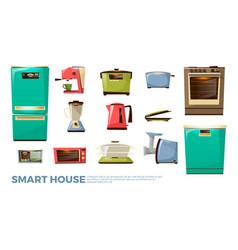 cartoon smart kitchen wireless appliances vector image