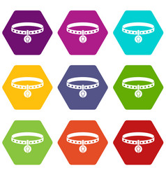 cat collar icon set color hexahedron vector image