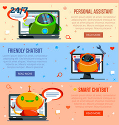 Chat bot flat banners vector