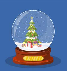 christmas snow globe with christmas tree vector image