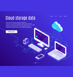 cloud storage landing page synchronization clouds vector image