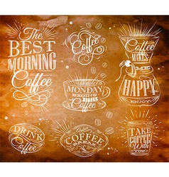 Coffee Signs kraft vector