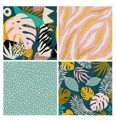 collage contemporary tropical and polka dot shapes vector image