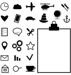 Collection of black icons on white background vector image
