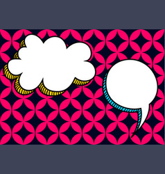 Comic text speech bubble memphis background vector
