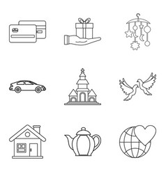Companion icons set outline style vector