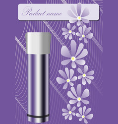 Cosmetics product sheet in trendy purple design vector