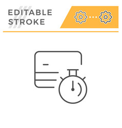 credit card transaction time editable stroke icon vector image