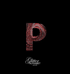 curly textured letter p vector image
