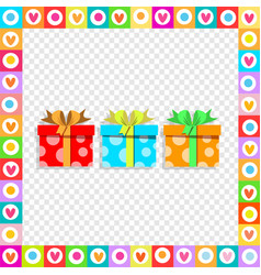 cute festive colorful wrapped gift boxes inside vector image