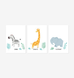 Cute posters with zebra giraffe and elephant vector