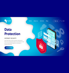 data protection landing page smartphone vector image