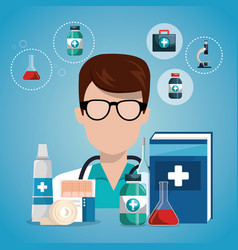 doctor with medical service icons vector image