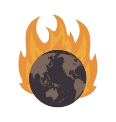Earth globe on fire icon vector