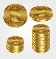 ethereum bitcoin coin money virtual crypto pay vector image