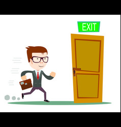 Exit businessman running to opened door vector