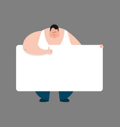 Fat holding banner blank stout guy and white vector