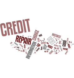 Four credit repair tips text background word vector