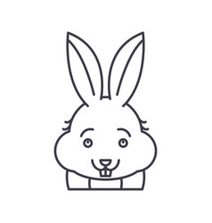 funny rabbit line icon concept funny rabbit vector image