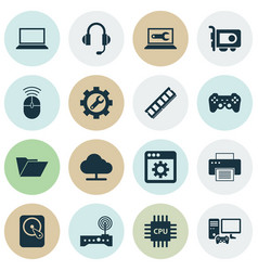 gadget icons set with gamepad folder printer and vector image