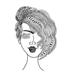 Girl head in tribal style vector image