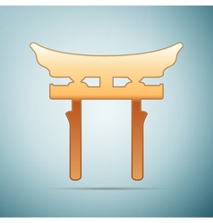 Gold Japan Gate Torii icon on blue background vector