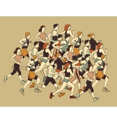 Group people sport moving run together vector image