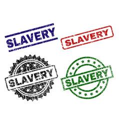 Grunge textured slavery stamp seals vector