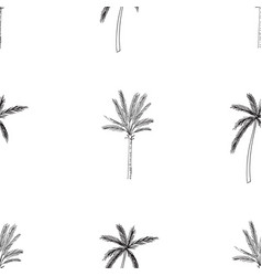 Hand-drawn seamless pattern with palm trees vector