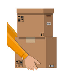 hand of courier with postal cardboard box vector image