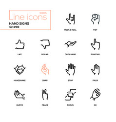 Hand signs - modern line design icons set vector