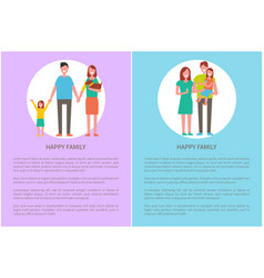 happy family smiling people daughter and pet dog vector image