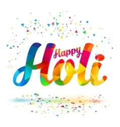 Happy Holi sign with colorful triangles vector