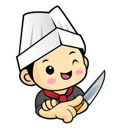 head cook character is holding a kitchen knife vector image