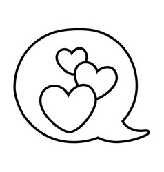 hearts into speech bubble black and white vector image