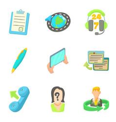 Helpline icons set cartoon style vector