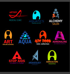 icons and signs with letter a in abstract shapes vector image