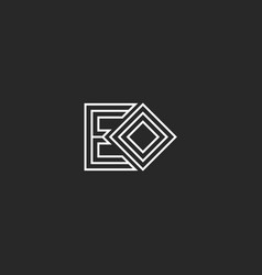 initials letters eo or oe monogram logo minimal vector image